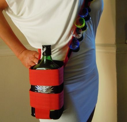 Shot Glass Bandoleer Style Belt with 1 Square Bottle Holder